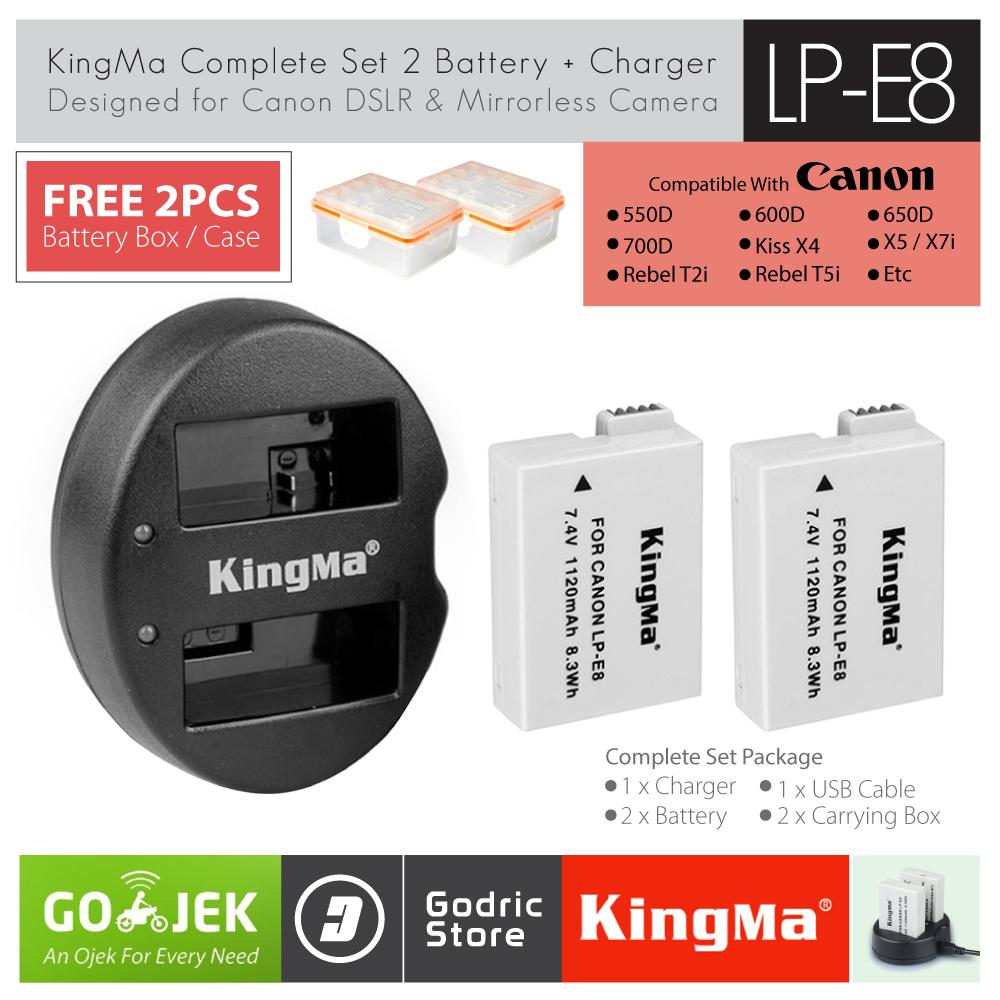 KingMa Paket Complete Battery Charger Set LP-E8 Canon 550D 600D 650D 700D etc