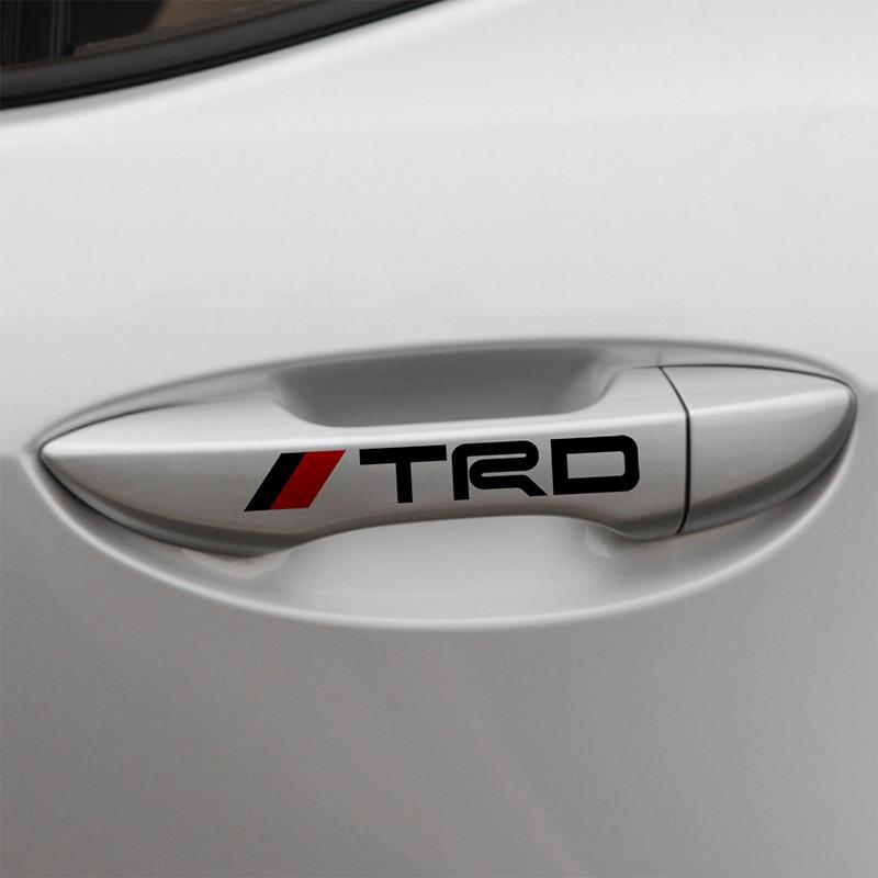 Stiker Handel Pintu Mobil Car-styling New Car Door Handle Sticker TRD Car Doorknob Sticker Handle Pintu Mobil Dekorasi Mobil Body Decoration for TOYOTA Rush / Fortuner TRD /Vios / Yaris/Etios Valco/Agya/Avanza/Veloz/Calya/Kijang Innova/Sienta/Hiace(Hitam)