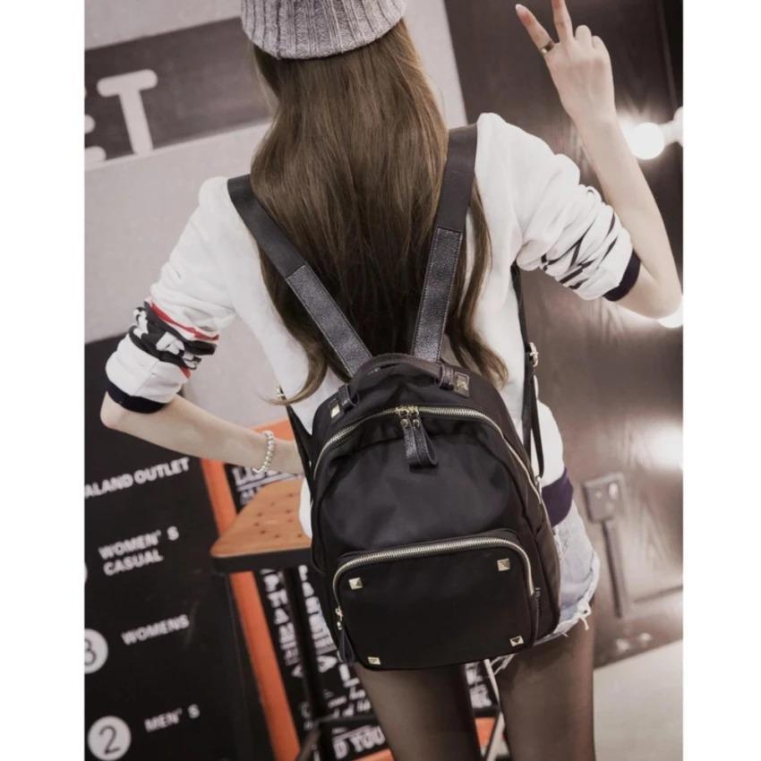 toko bang bayu Tas Ransel Fashion Branded Wanita Remaja Dan Dewasa Korean Style Import Nylon Oxford Annisa Bagus - Black Large