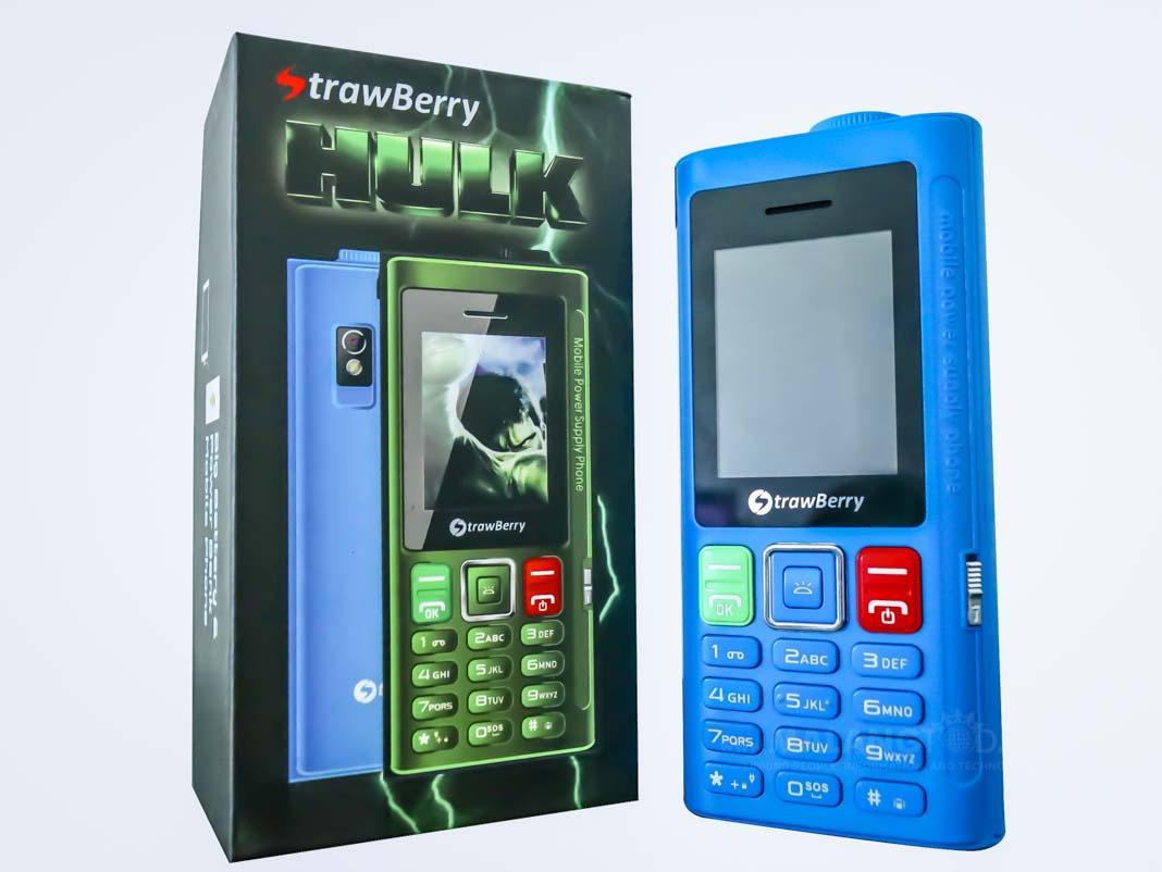 Strawberry HULK - bluetooth - dual sim - Radio FM - Powerbank 4000mah- Hp unik / desain unik / hp murah