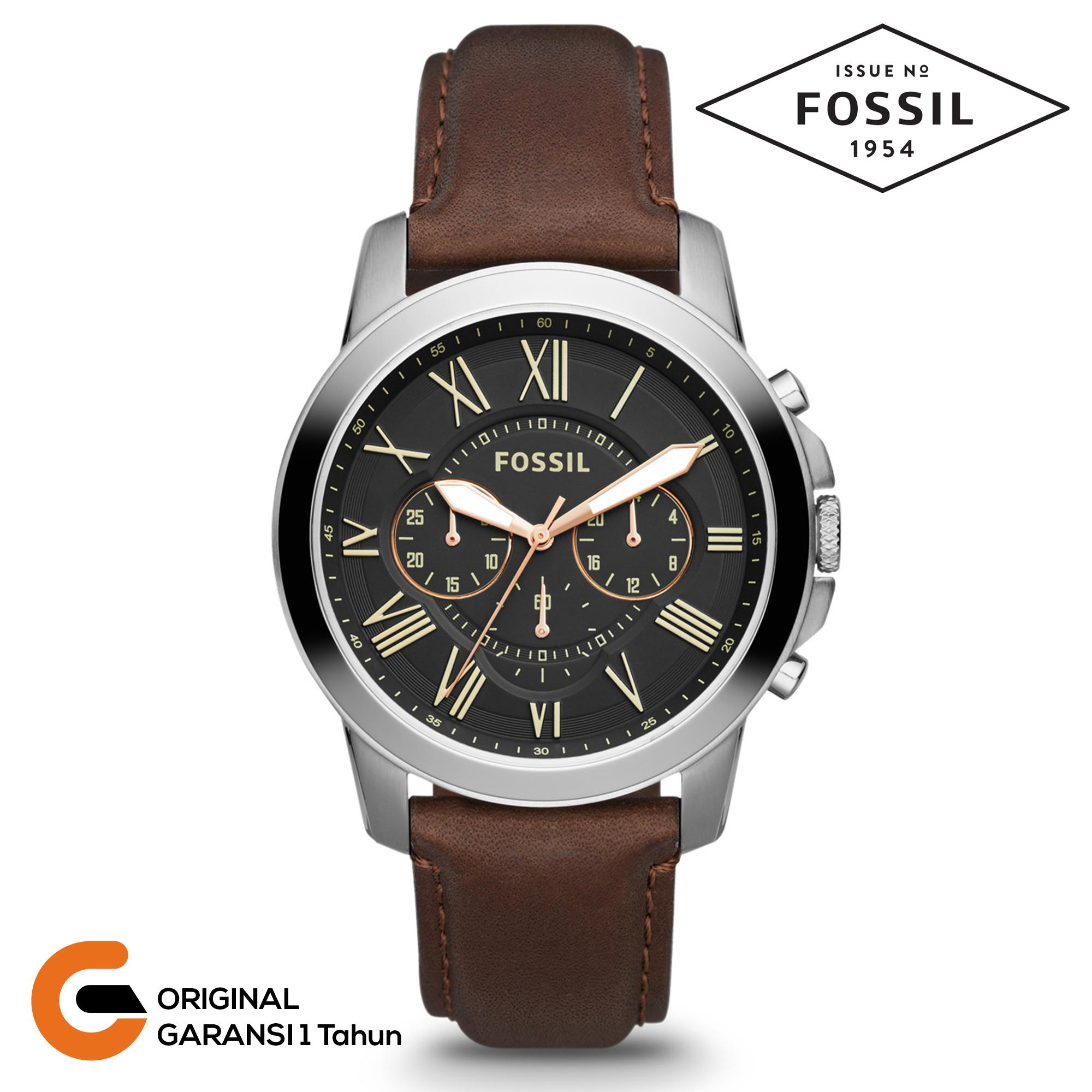 Fossil Jam Tangan Pria Fossil Grant Chronograph Tali Kulit Leather Quartz  Movement Black White Coklat Hitam c33a36b479