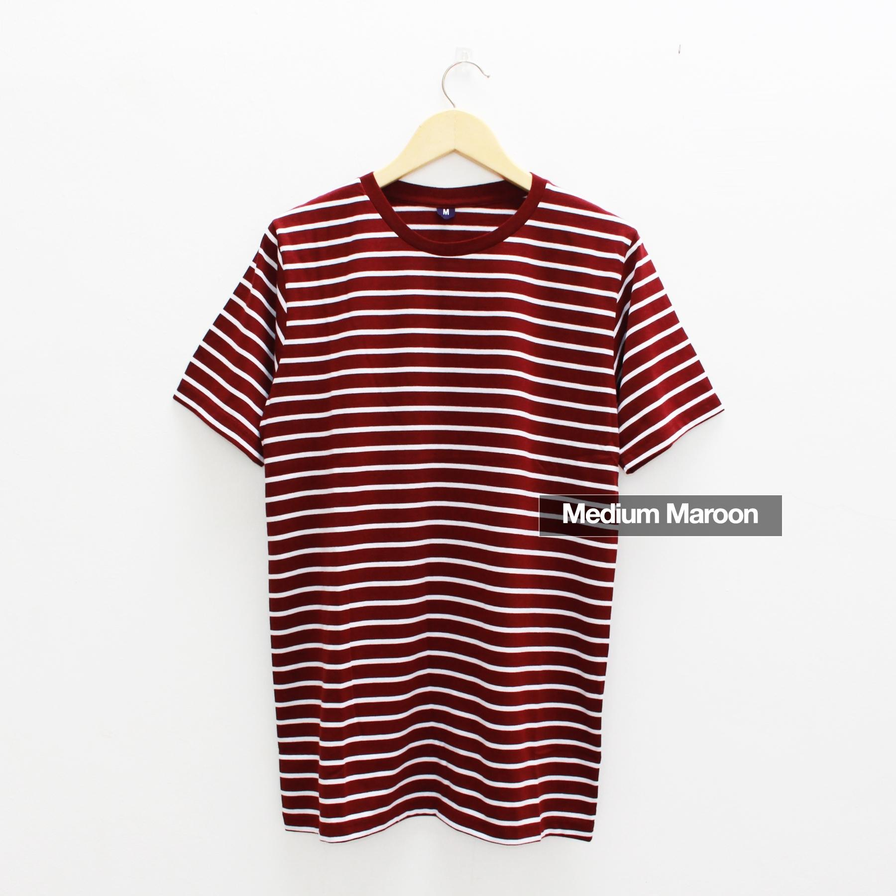 Kaos Belang Stripe Lengan Pendek Warna Medium Maroon