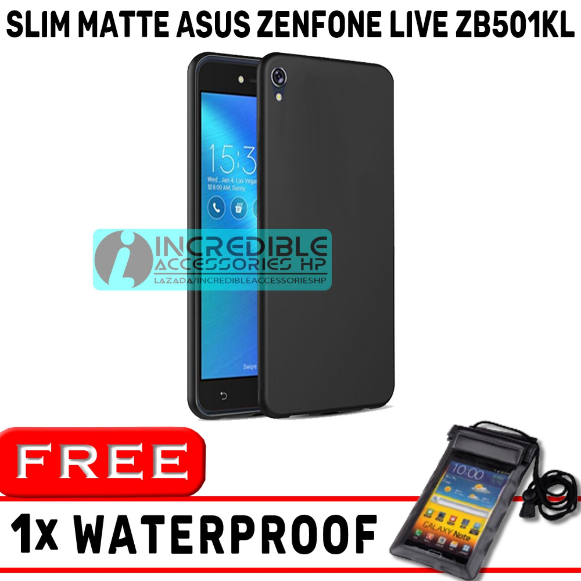 Slim Matte for Asus Zenfone Live ZB501KL Softcase Baby Skin Black Matte High Quality - Black + Free Waterproof Random Warna