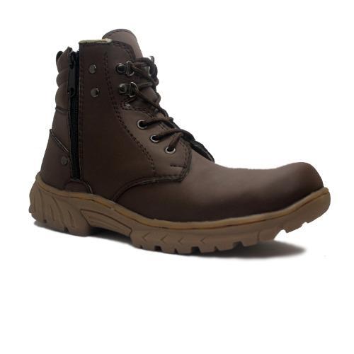 Cut Engineer Zipper Safety Boots New Kansas Tactikal Dark Brown