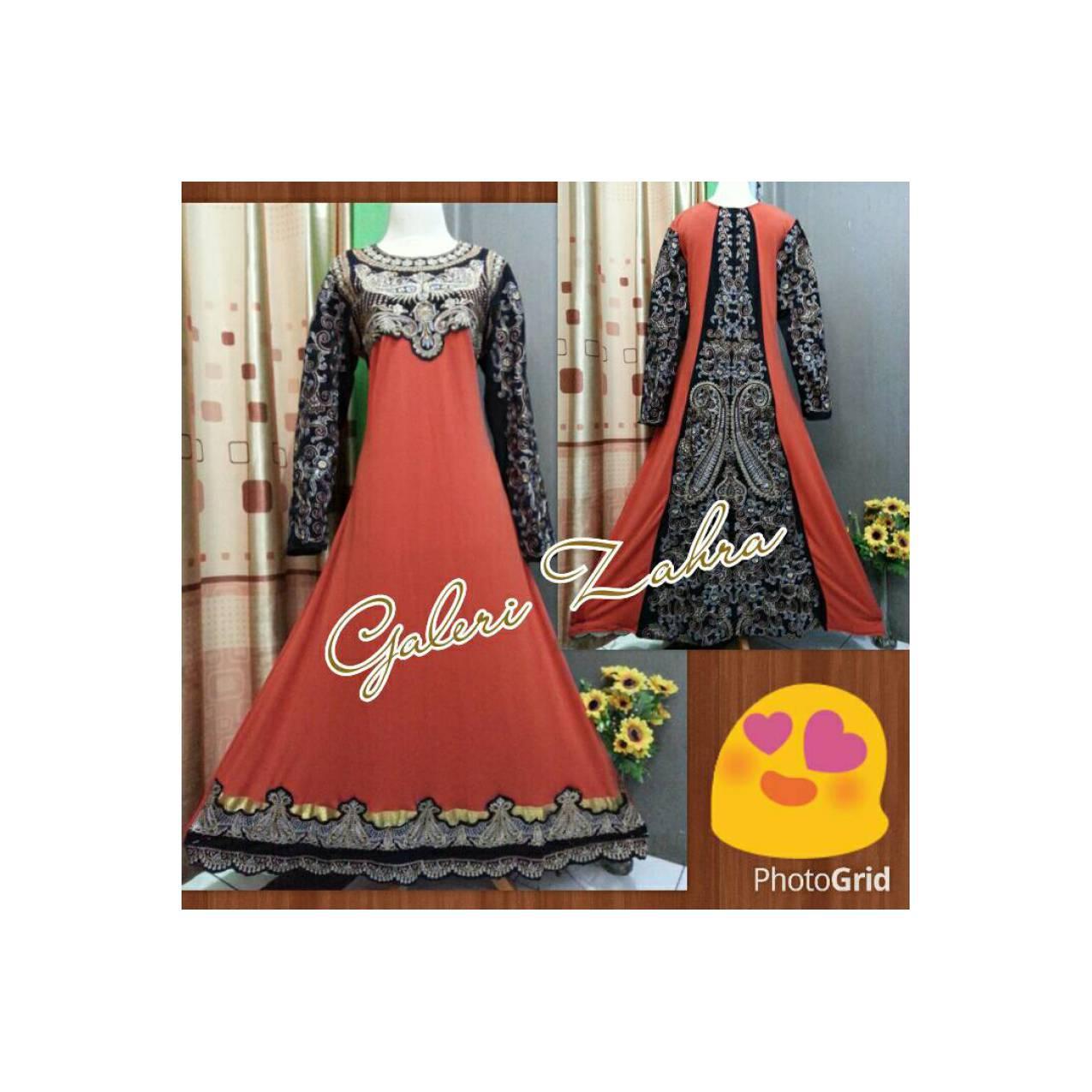 abaya indua full bordir orens / gamis aceh murah