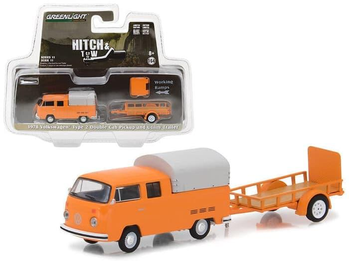 TERLARIS Greenlight 1/64 Hitch & Tow 1978 Volkswagen Type 2 Double Cab & Traile