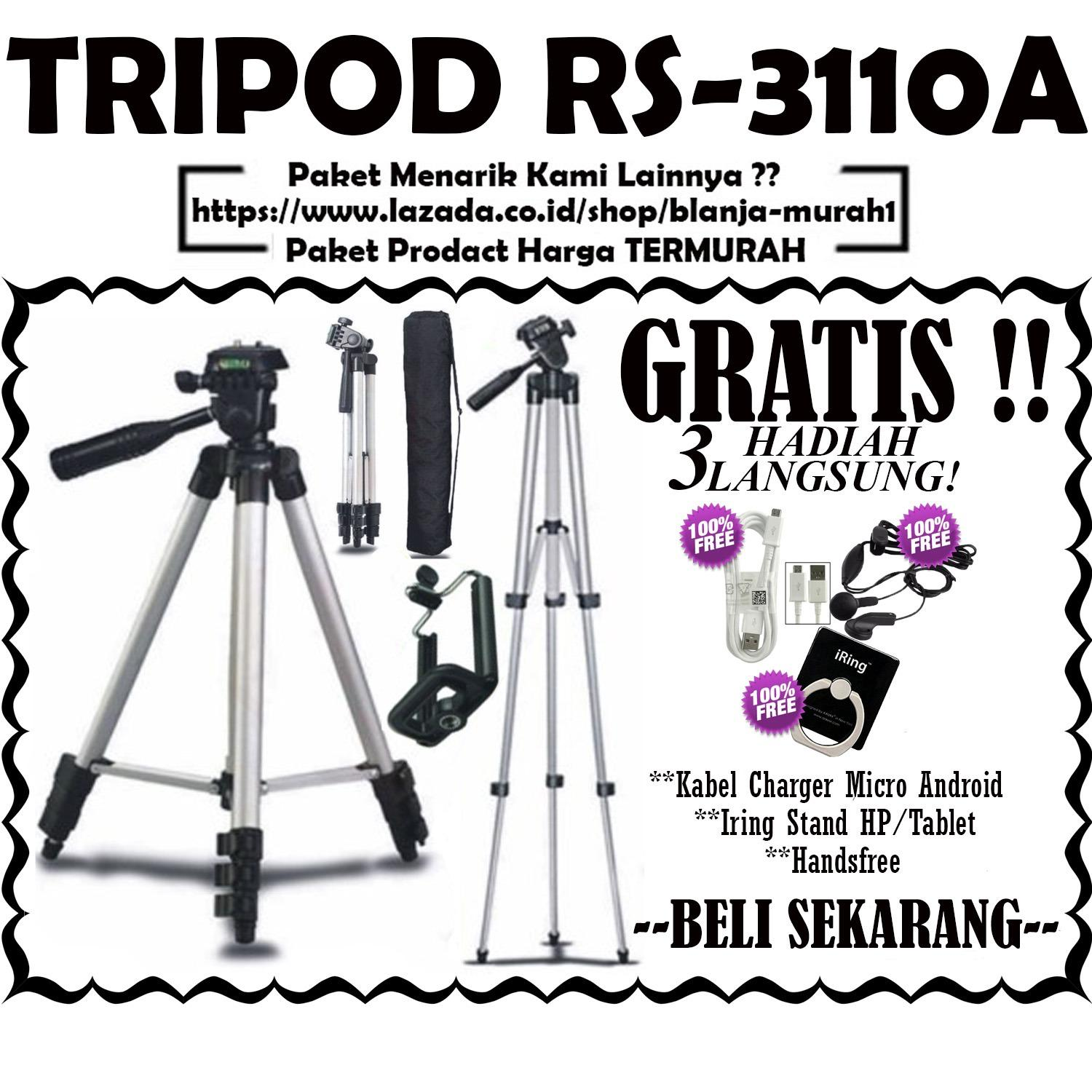 Tripod RS-3110A 1 Meter by Ring Star Include Holder U for Smartphone / Universal ( Camera Digital , Action Cam, DSLR , SLR ) - GRATIS Kabel Charger Micro Android + Iring Stand HP/Tablet & Handsfree