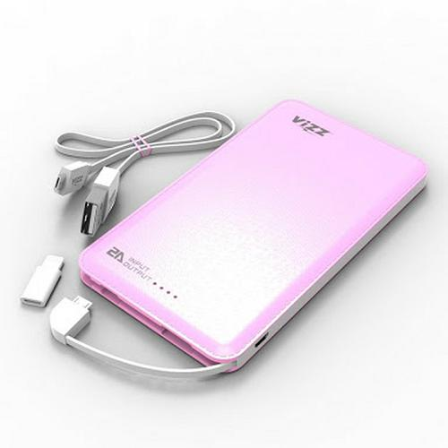 Vizz Power Bank Powerbank 6000 Mah VZ-60 Single Port + Cable - Pink