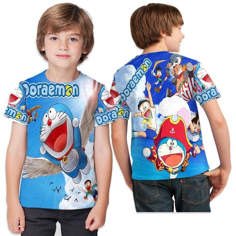 Kaos T-Shirt Anak  Lengan Pendek Unisex Fullprint Custom New Design Doraemon