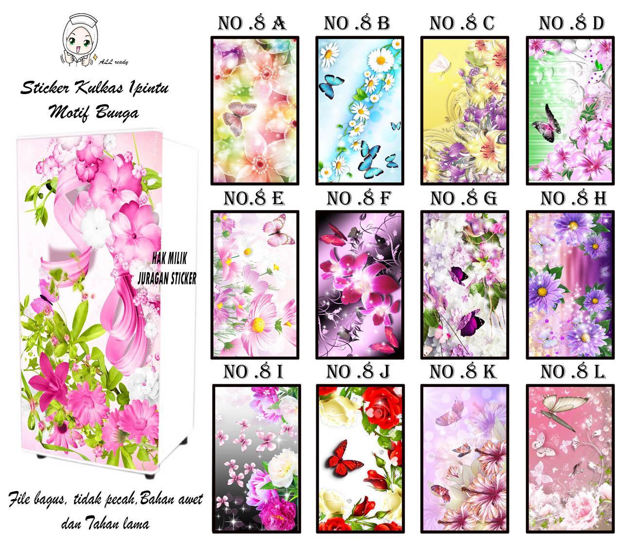 sticker kulkas indoor bunga G