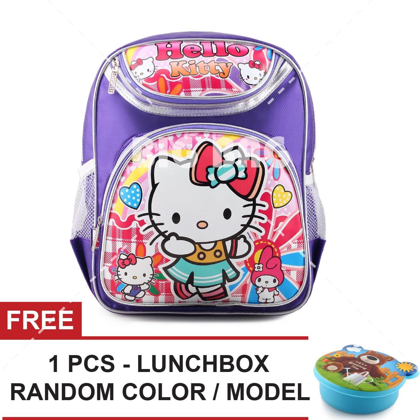 Tas Ransel Anak - HelloKitty - Candy Girls - FAW School Bag Tas Sekolah Anak - PURPLE + FREE  Lunchbox Random Color / Model Tas Anak Tas Sekolah Tas Anak Karakter