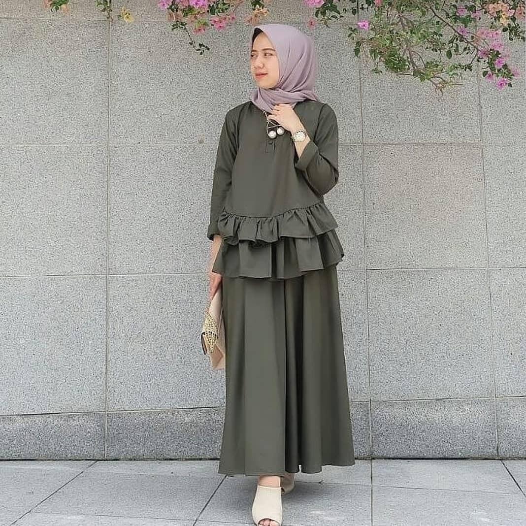 Baju Original LEA SET Balotelly Panjang Hijab Casual Pakaian Muslim Wanita Muslim Modern Terbaru Termurah 2018