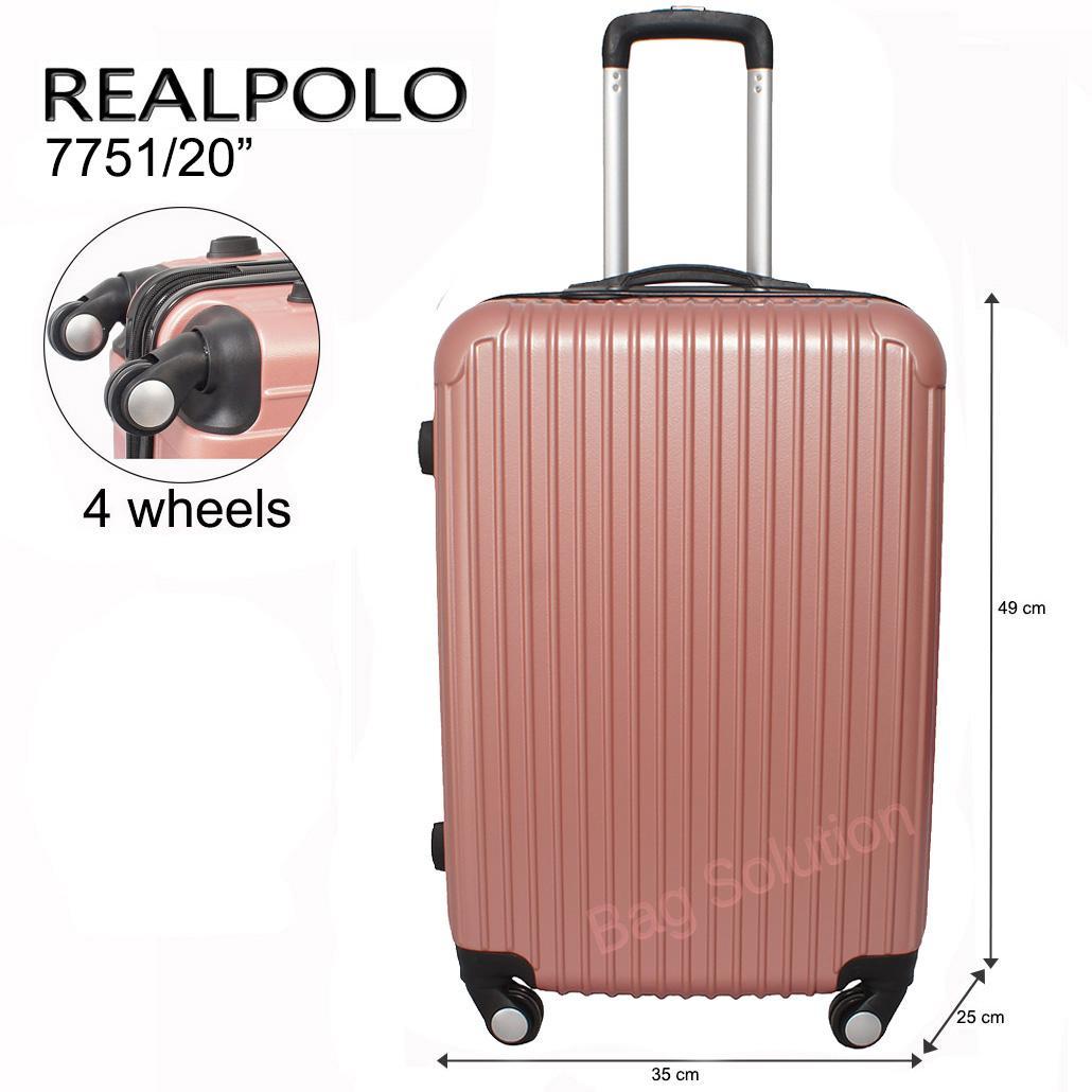 Real Polo Tas Koper Hardcase Fiber ABS - 4 Roda Putar - GGAG Size 20 Inch