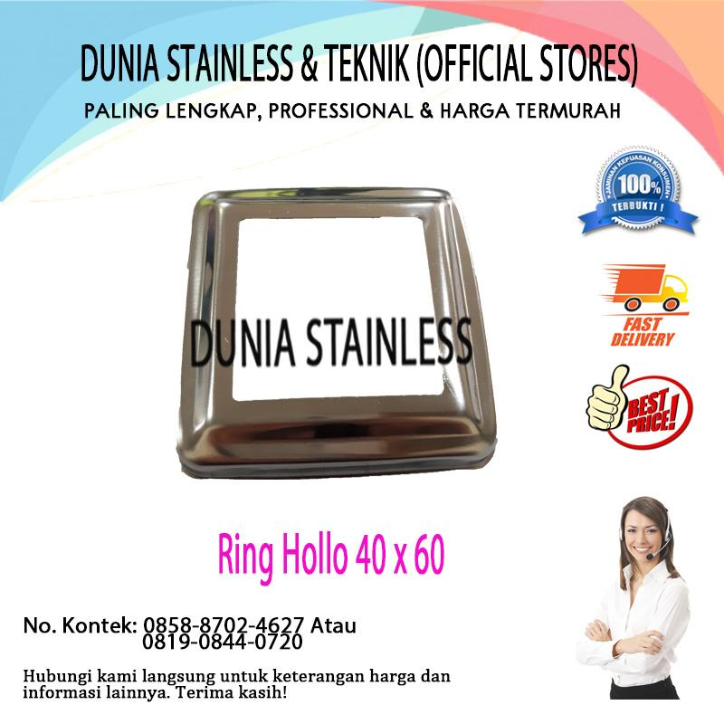 Ring Hollo 40mm x 60mm flange kotak aksesories stainless steel tangga balkon kanopi pagar