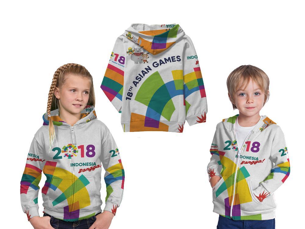 Jaket Sweater Hoodie Pullover Anak Fullprint Custom Asian Games 2018 Indonesia Bangga