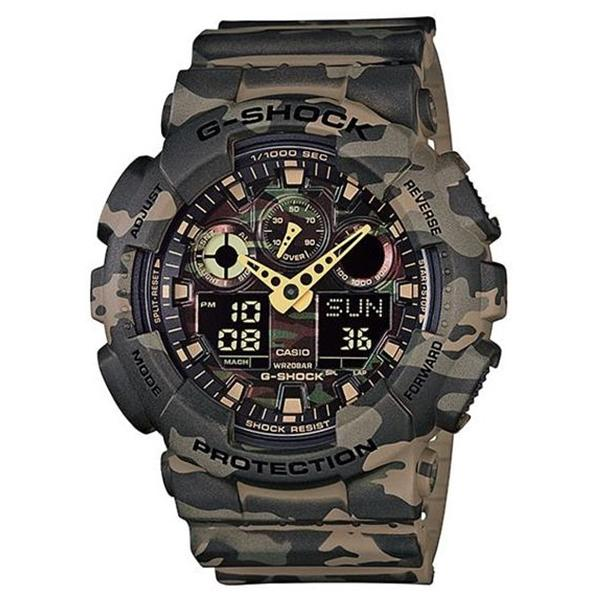 Casio Jam Tangan Pria Casio G-Shock GA-100CM-5ADR Protection Camouflage Digital Analog Watch