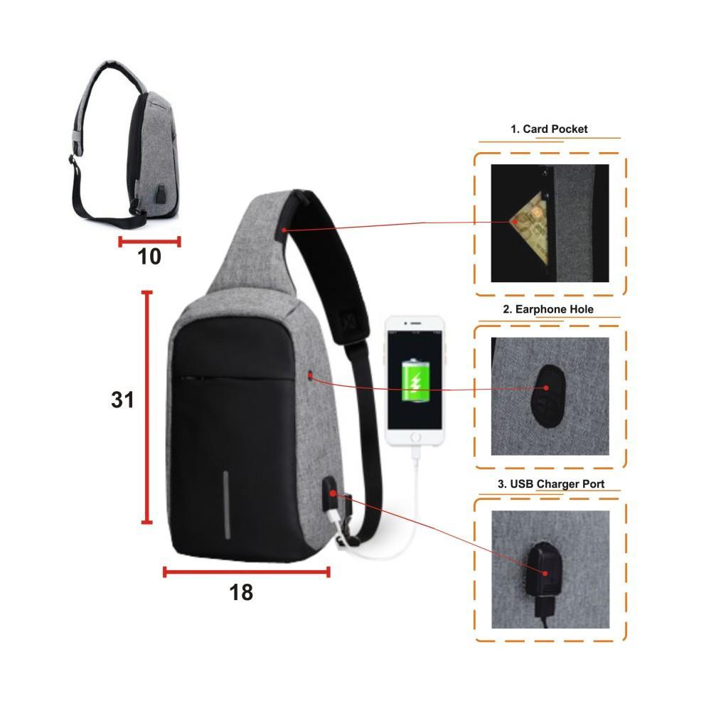 Tas Selempang Anti Maling dengan USB Charger Port  - abu2