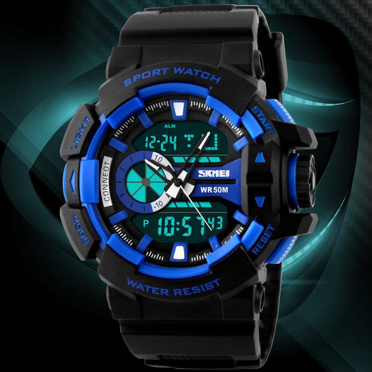 SKMEI Dual Time Men Sport LED Watch Anti Air Water Resistant WR 50m AD1117 Jam Tangan Pria Tali Strap Karet Digital Alarm Wristwatch Wrist Watch Fashion ...