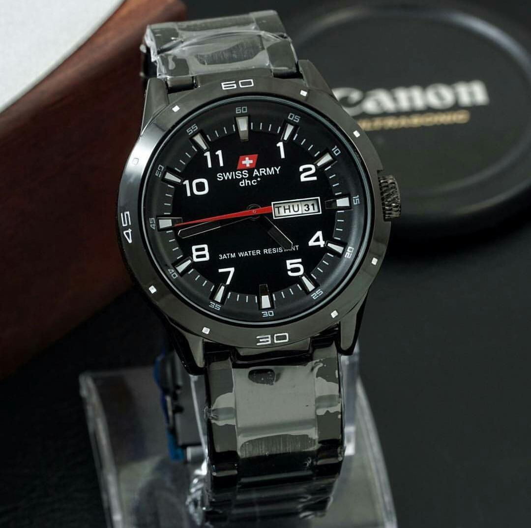 Jam tangan Pria Swiss Army dhc+ Stainless steel -Hari&Tanggal aktif