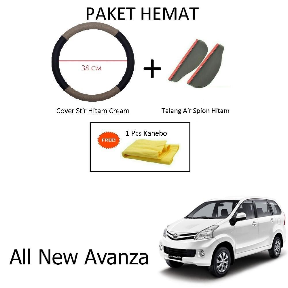 Sarung / Cover Stir / Setir / Steer Mobil All New Avanza Warna Hitam Cream + Talang Air Spion Hitam
