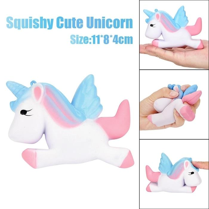 Squishy Unicorn Biru 13cm Mainan Anak S015