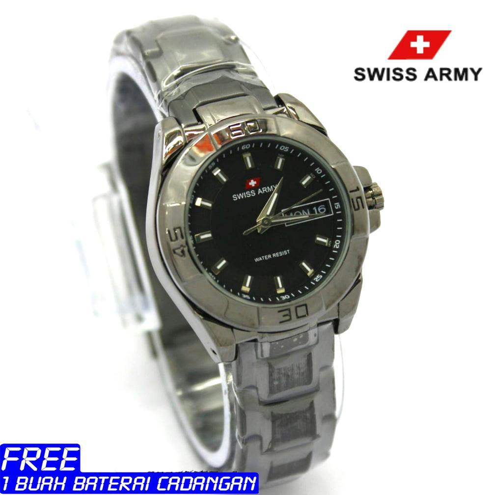 Swiss Army - Jam Tangan formal Wanita - tanggal hari-Stainless steel -