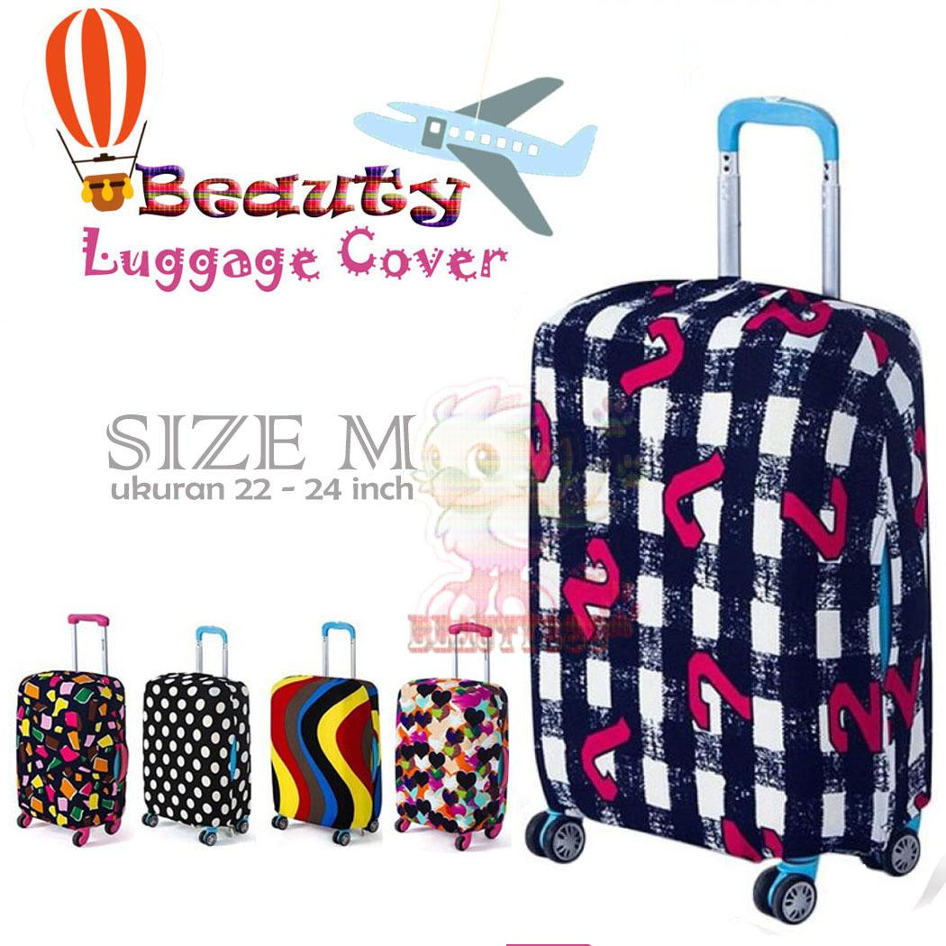 Beauty ( BONUS POUCH PENYIMPANAN ) Koper Cover Fabric Stretchable Luggage Cover Pelindung Dustproof untuk 21