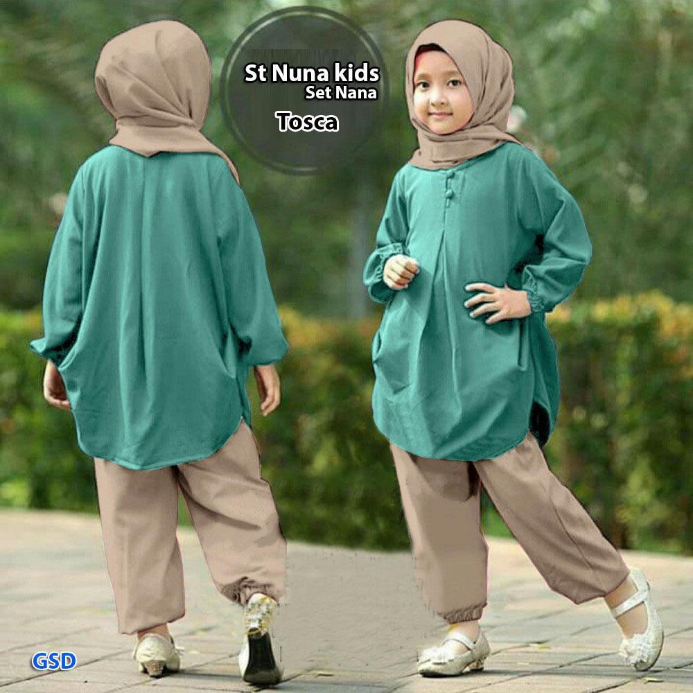 NCR-Baju Setelan Anak Cewek/ Setelan Muslim Anak Cewek/ Setelan Nuna Kids/  St Nana