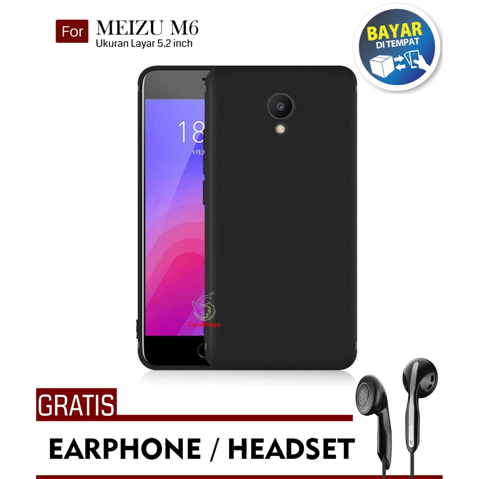 MidNight Meizu M6 | Slim Case Black Matte Softcase Premium Baby Skin + Gratis Free Earphone