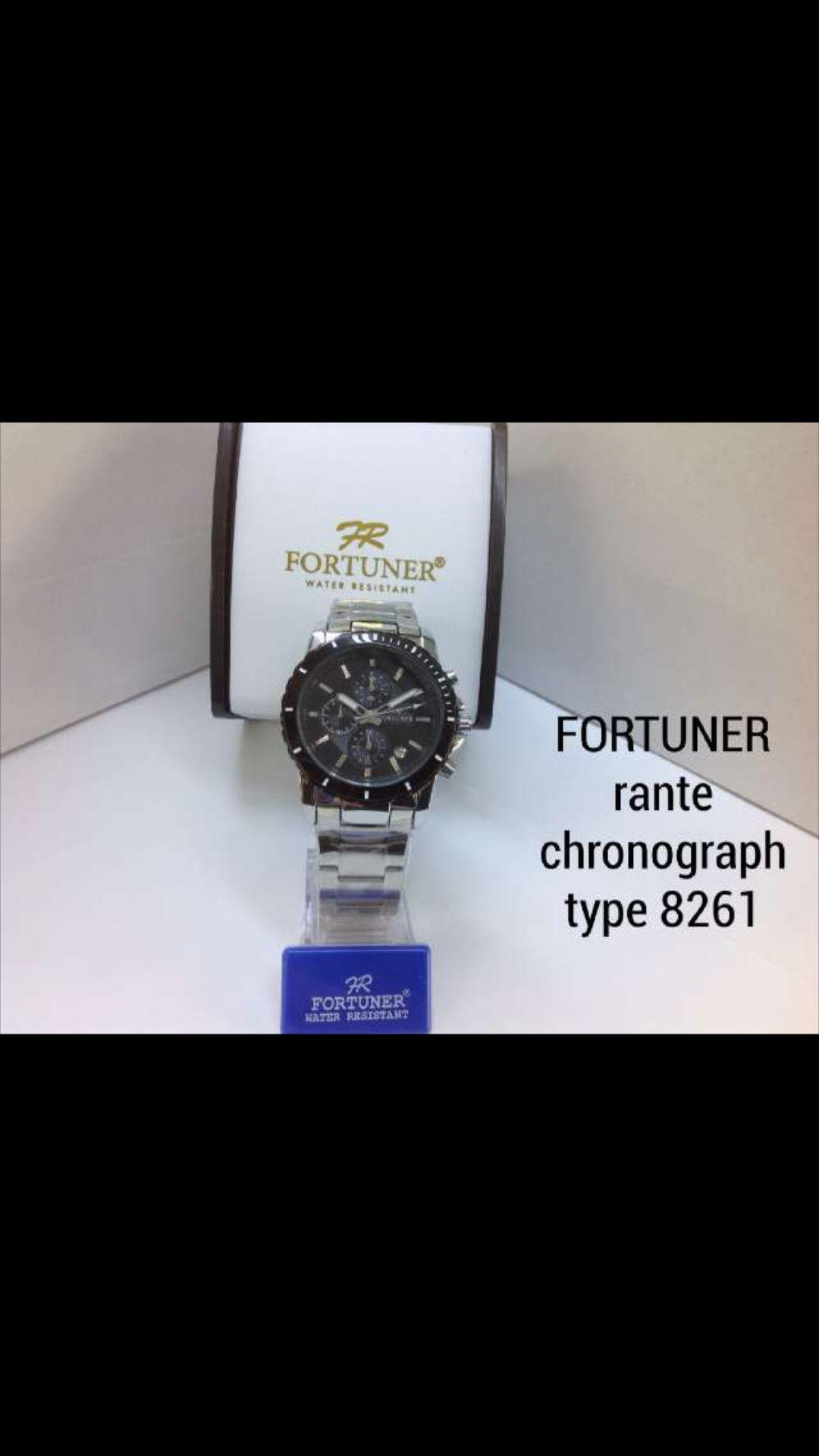 Fortuner FR755A Dual Time Jam Tangan Pria Stainless Steel Hitam