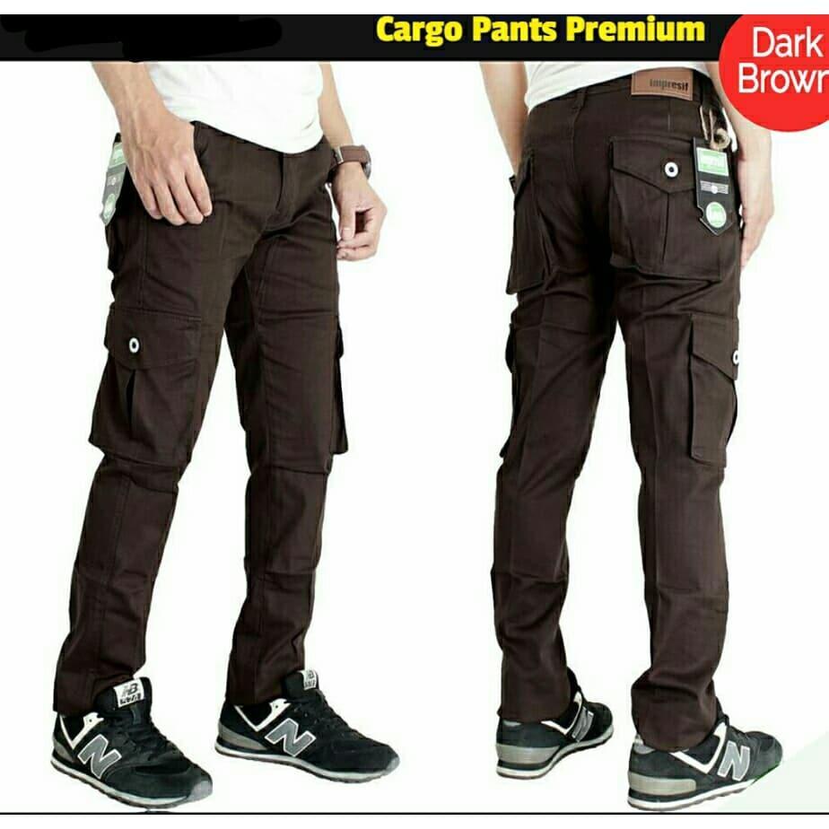 Celana cargo panjang slimfit dark brown/coklat tua