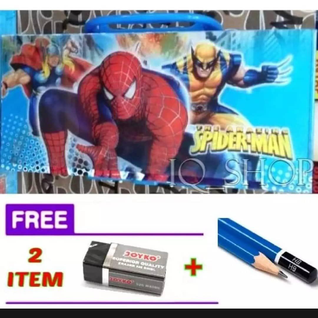 Kotak Pensil (KODE) Karakter SPIDERMAN + FREE Penghapus + Pensil.
