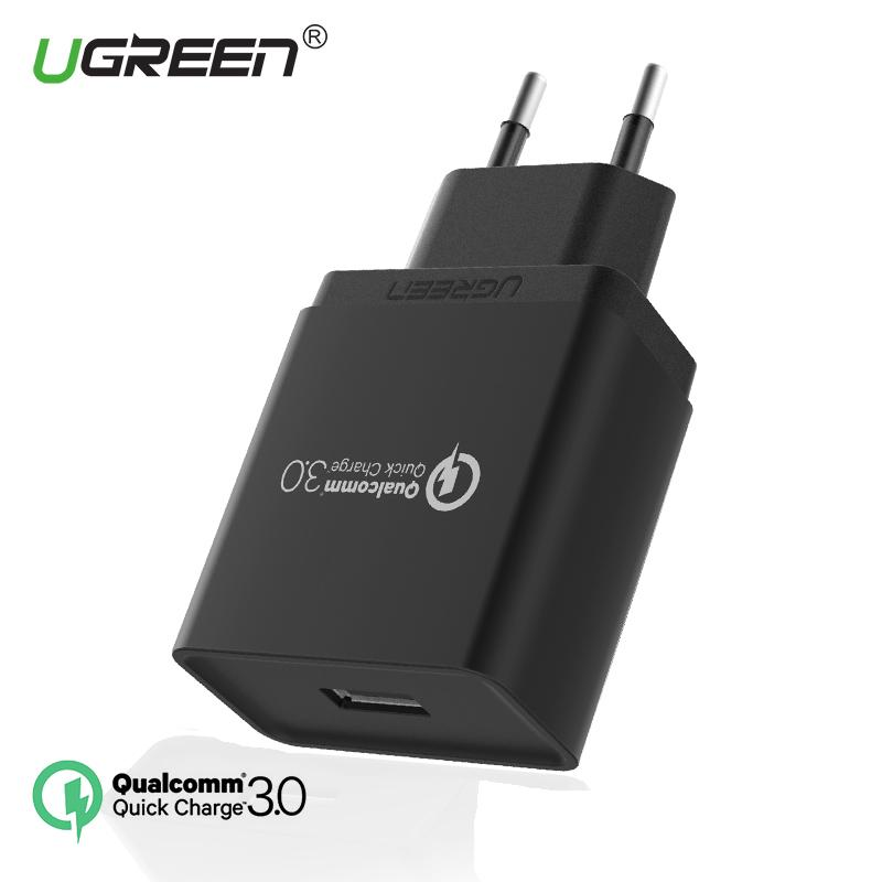 UGREEN QC3.0 Charger Quick Charge 3.0 Fast Charge HP Charger for Samsung, iPhone, Xiaomi Redmi Handphone HP 18W Fast Charger Black