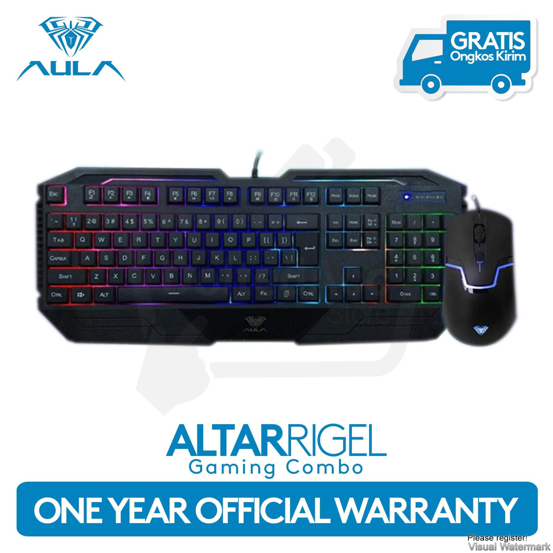 AULA Altar Rigel Wired Keyboard and Mouse Combo with LED Backlit - Hitam