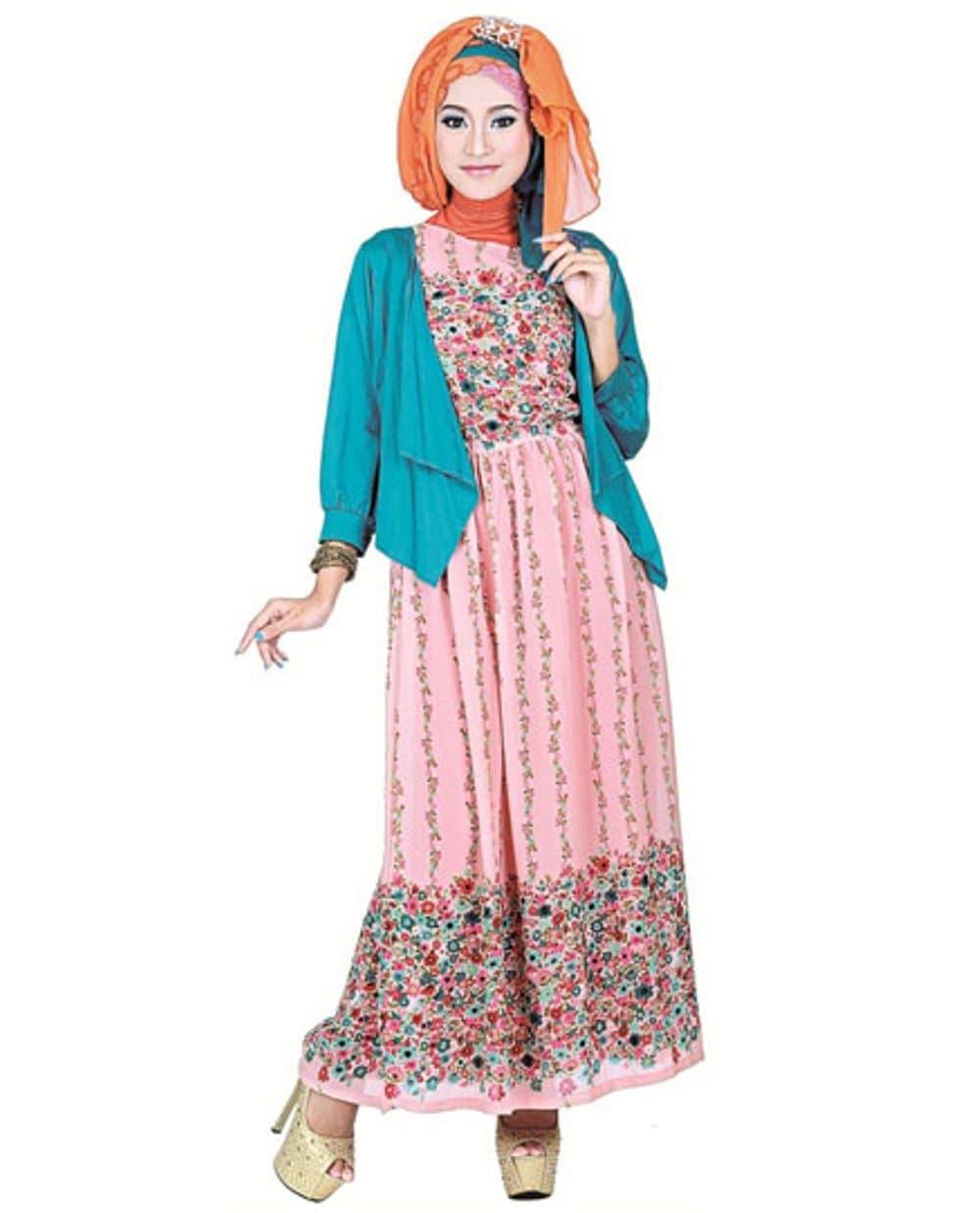 Baju Muslim Gamis Kode SHJ 373B   Butik Baju Bandung Diskon