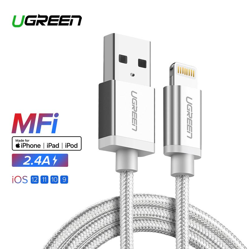 UGREEN Original Kabel 0.25Meter Lightning Cable MFI for Apple iPhone 7/7 Plus iPhone 6/5S/6S iPhone 8 iPhone X iPad iPod Fast Charging Denim Braided Data Sync Cable Black