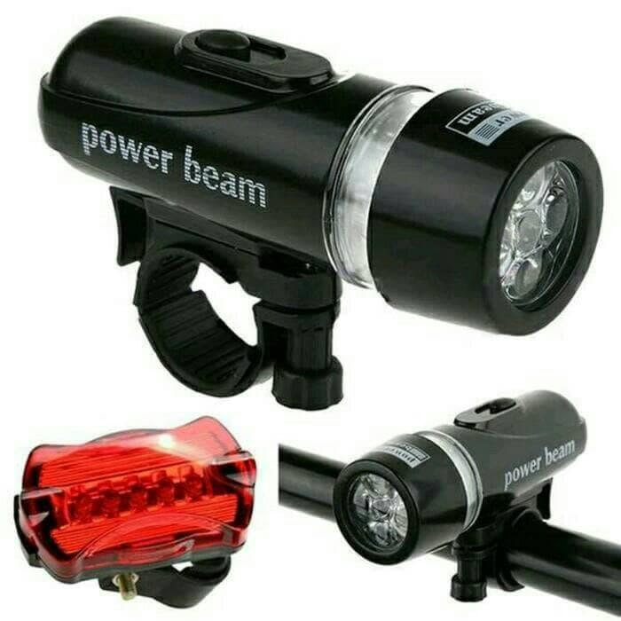 Powerbeam Lampu Depan Sepeda 5 LED Lampu Belakang Bike Bicycle Front Back Lamp Water Resistant Bright