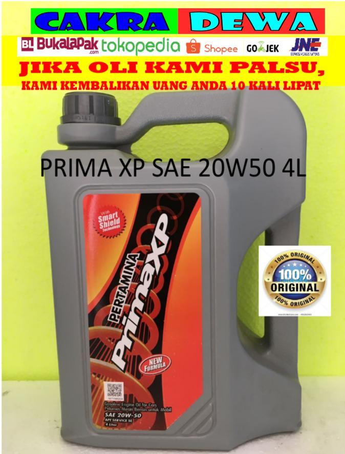 Oli Mesin Mobil Pertamina PrimaXP PRIMA XP Sae 20W50 Galon 4 Liter