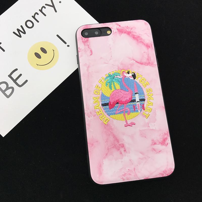 Flamingo Selubung Ponsel IPhone6/8 PLUS Jepang atau Korea Selatan Bordir Apple Identitas Bungkus Penuh