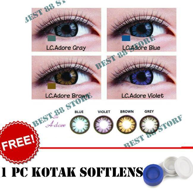 BEST SELLER Kontak Lensa Softlens Living Color Adore : Blue,Brown, Grey, Violet - Kualitas Bagus + FREE Lenscase