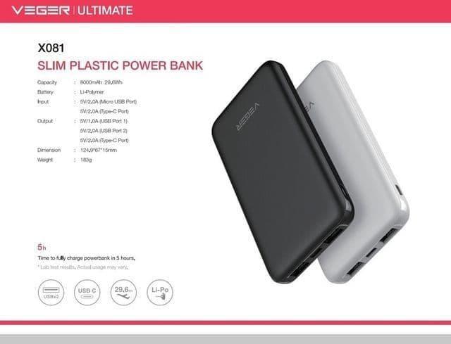JUAL POWERBANK VEGER ULTIMATE X801 8000MAH 2 USB REAL CAPACITY ORIGINAL