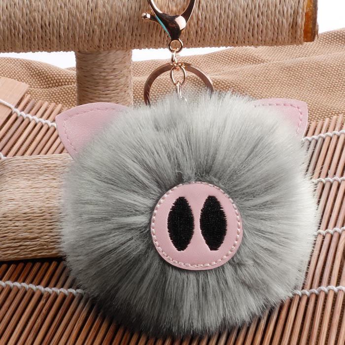 Gantungan Kunci Piglet Hair Ball PomPom Keychain AP2075