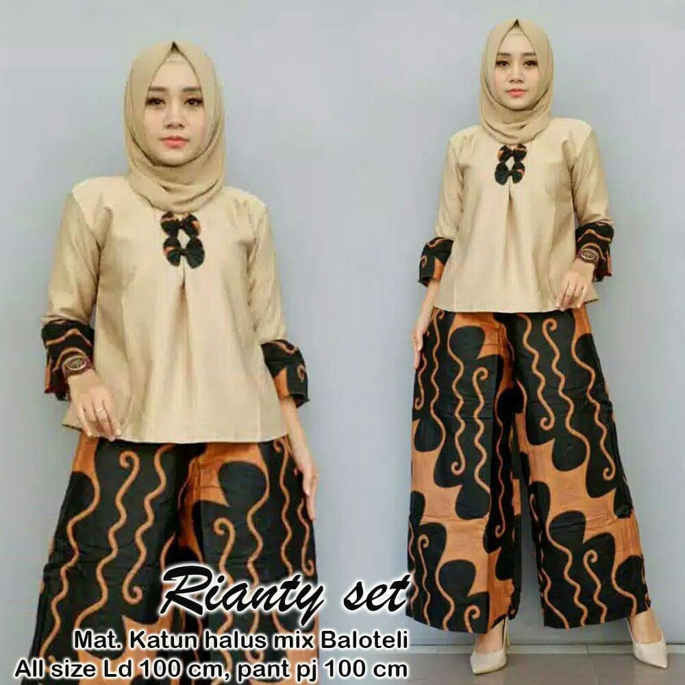 TERMURAH - Setelan Batik Wanita - Stelan Muslim Murah - Stelan Kulot Muslim - Baju Batik - Baju Kebaya - Batik Modern = Batik Terbaru - Batik Terbaru 2018 - Batik Wanita - Batik Murah RIANTY SET