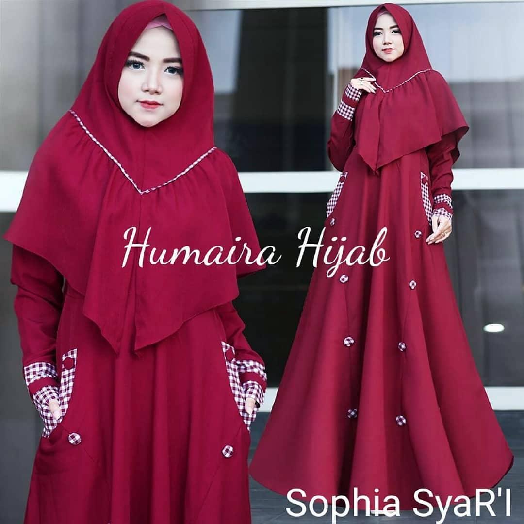Busana Wanita Muslim Sophia Syar'i + Khimar Bahan Balotely Mix Square Modis dan Elegant