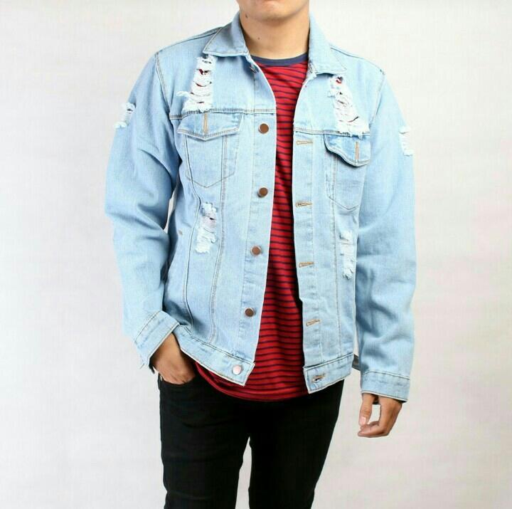 Jaket jeans Levis pria bioblitz sobek premium