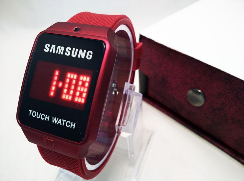 Jam Tangan Samsung Led Touch warna Merah Maron Untuk Pria Dan Wanita