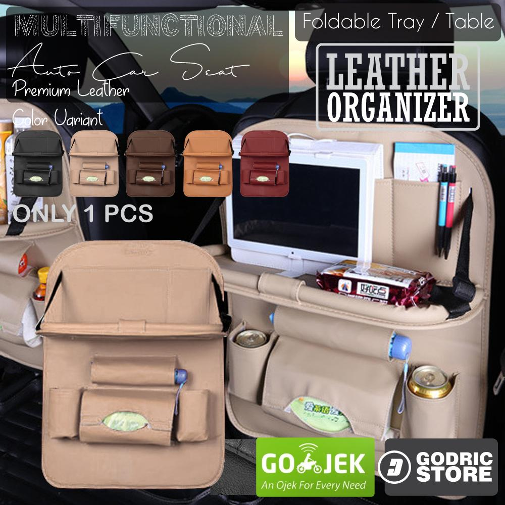 Godric Leather Premium Meja Foldable Auto Car Organizer Tas Jok Kulit Mobil