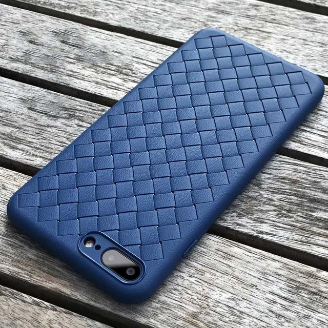 WOVEN Case iPhone 7 Plus 7+ iPhone 8 Plus 8+ Softcase Back Cover Casing Silicone TPU Jelly Grid Lin
