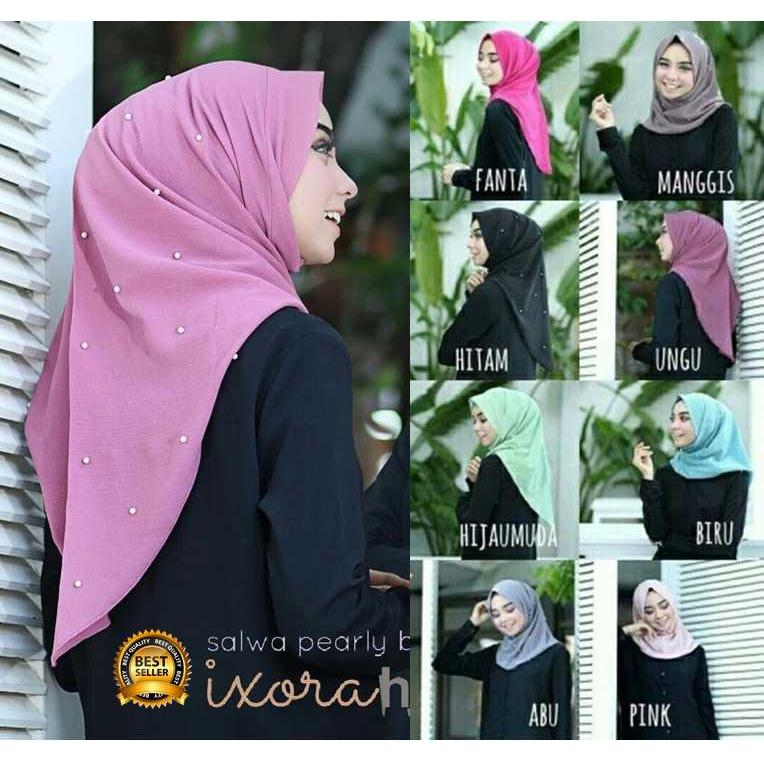 Premium Jilbab Kerudung Instant Syari (Jilbab Syar'i) Hijab Instan Salwa Pearly Toko Berkah Online