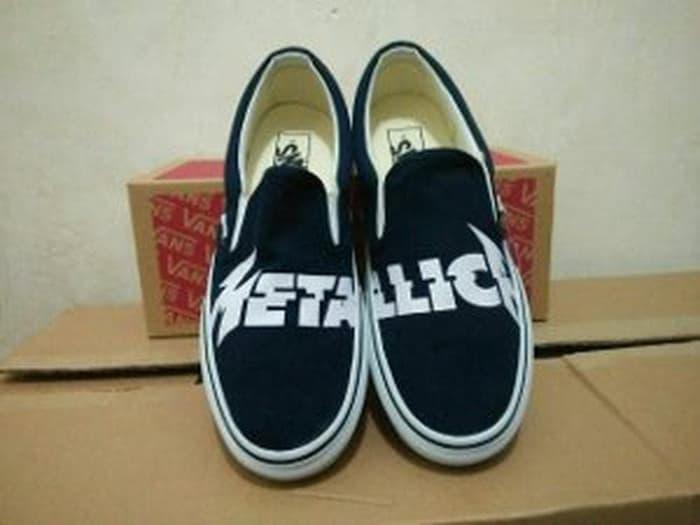 HARGA DISKON!!! Sepatu Vans Slip On Metallica Import Kets Casual Kuliah Limited - naCdrX
